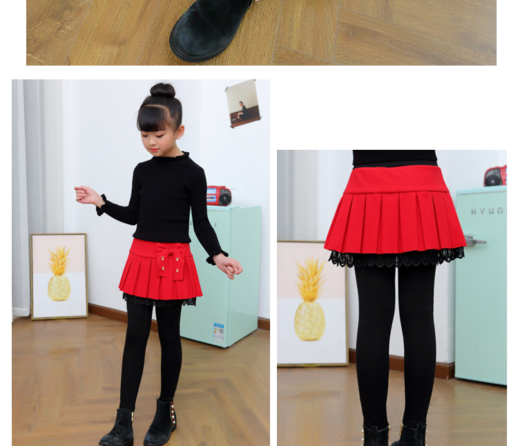 Winter Girls Warm Skirts Pants For Kids Patchwork Bowknot Princess Leggings Kids Dance Pants Cake Skirt Trousers