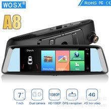 跨境專供A8專用4G英文版7寸安卓后視鏡行車記錄儀導航藍牙土耳其