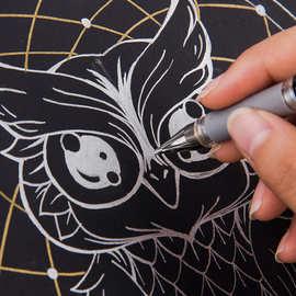 三菱UM-153高光笔1.0金银白色黑纸用中性笔婚礼办公会议手绘签名