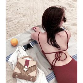 Sexy retro wine red sexy Siamese bikini small chest gathered to cover belly was thin conservative hot spring bathing suit women