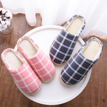 棉拖鞋新款情侣简约格子男女冬季拖鞋家居家室内保暖防滑棉拖批发