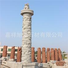汉白玉龙盘柱 大型广场雕塑石雕柱子 大理石盘龙柱厂家直销