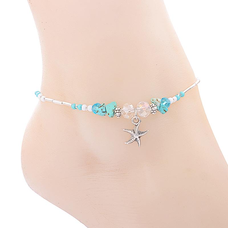 欧美时尚简约潮流手工合金水晶海星沙滩脚链女