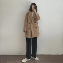 18冬/好版型短款大衣 复古双排扣廓形呢子大衣西装外套代发批发