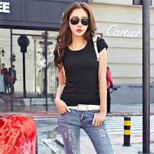 2020简约修身纯色夏季韩版短袖t恤女百搭圆领学生白色东大门t恤