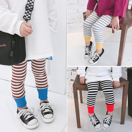 Children's horse autumn winter new children's trousers girls pants foot color striped underpants 9062