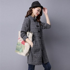 Autumn dress new style national style clip silk cotton vertical collar medium and long style shirt loose retro long sleeved shirt coat
