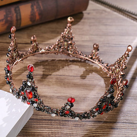European and American new big crown Baroque retro wind red crown dress accessories birthday crown