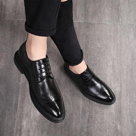 New business dress casual British Brock men's shoes trend black men's shoes