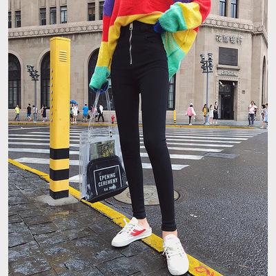 【朵维思】2018秋季新款打底裤女小脚拉链收腹超高腰铅笔裤F5367