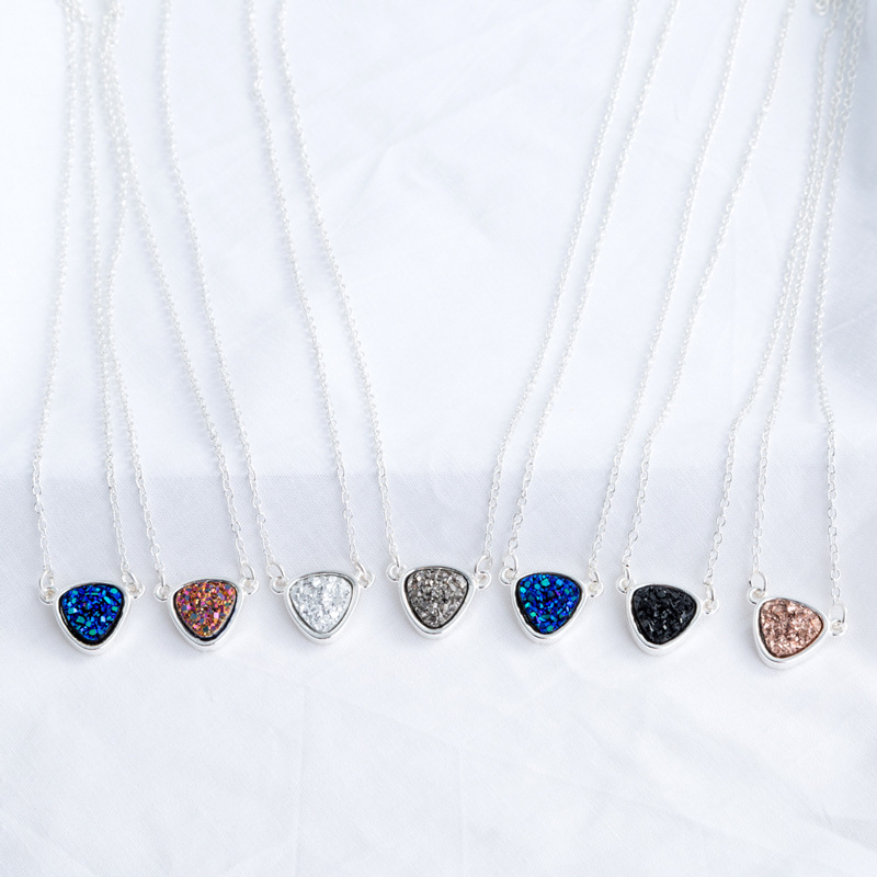 color resin imitation natural stone pendant popular crystal cluster necklace  NHAN251876