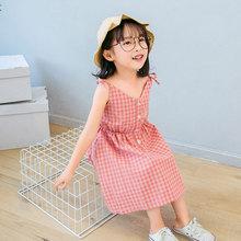 女童裙子夏季氣質吊帶裙童裝韓版女孩夏裝中小兒童公主格子裙批發