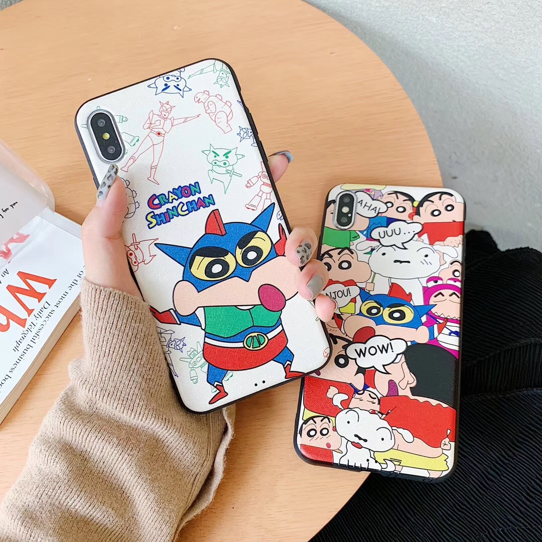Crayon Shinchan Dynamic Superman Small Ball for iPhone8P Cover Mobile Shell Apple X All-inclusive Soft Shell