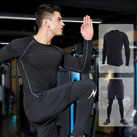 new sports suit male fake two pants gym training outdoor quick-drying running clothes two-piece
