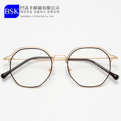时尚金属眼镜双眉线框男近视眼镜框复古潮女士平光镜多边形眼镜架
