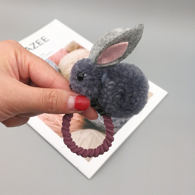 Korean version of the cute cute three-dimensional small rabbit plush rabbit ear hair clip autumn and winter hair ring female head rope child hair accessories NHSA201210