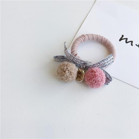 Mùa thu mới dễ thương màu sắc phù hợp uốn xoăn bóng tóc dây giả lông cừu vòng tròn nơ cao su ban nhạc Hàn Quốc phụ kiện tóc nữ
