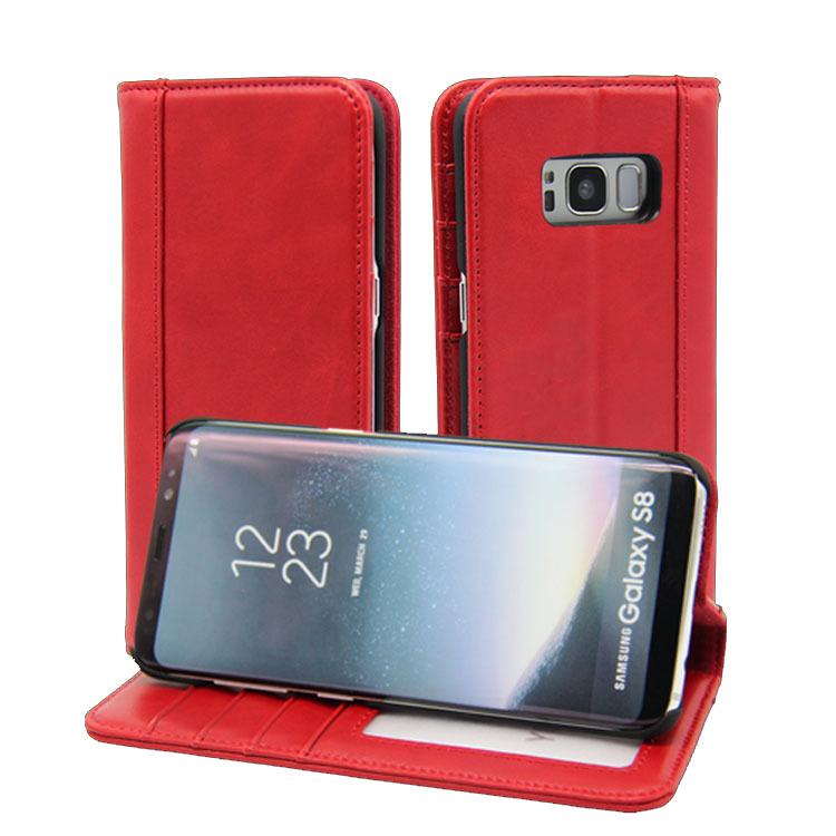 外贸货源工厂定制三星Galaxy S8真皮手机套 手机保护套中国红爆款