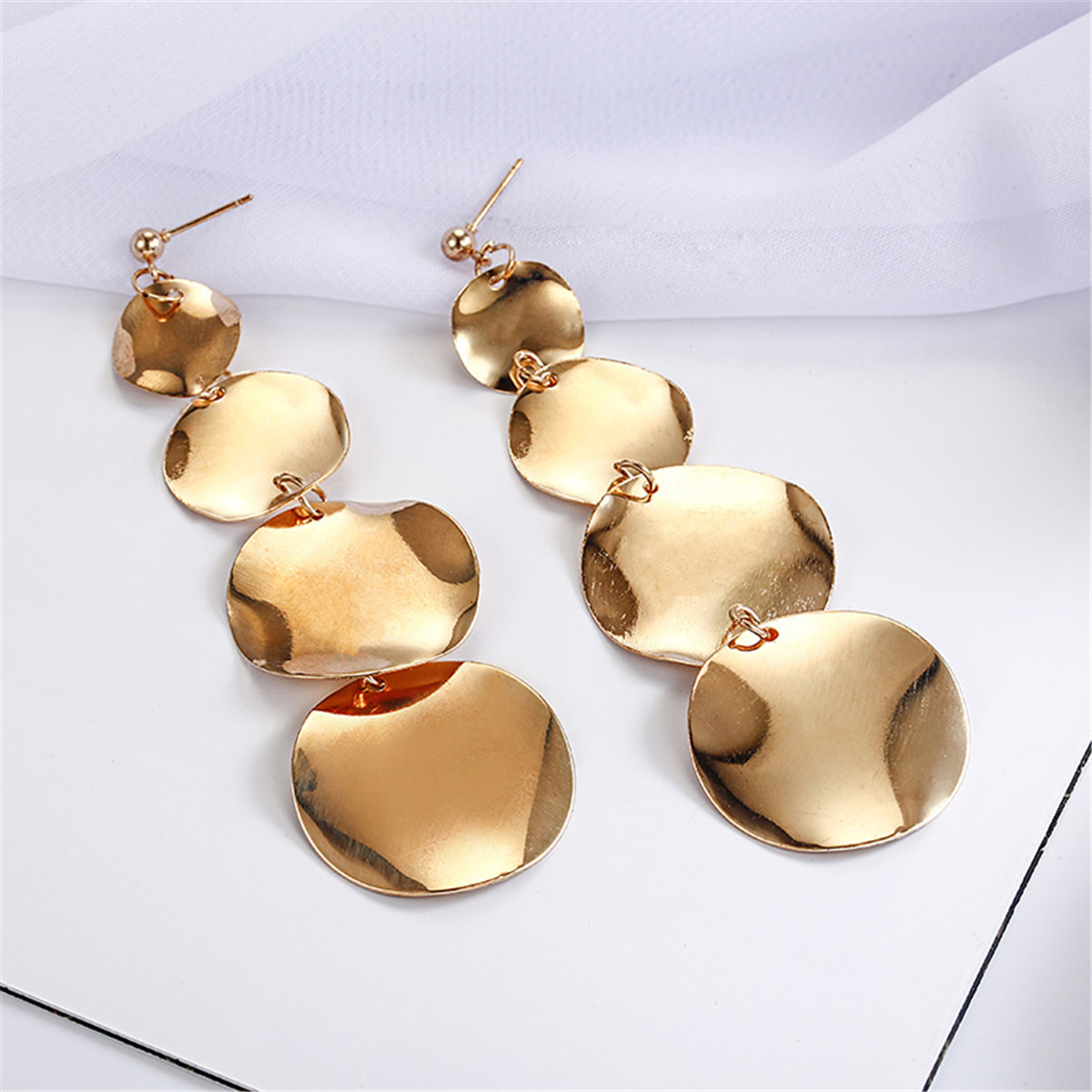 jewelry retro long round circle earrings alloy geometric irregular round earrings wholesale nihaojewelry NHPF218285
