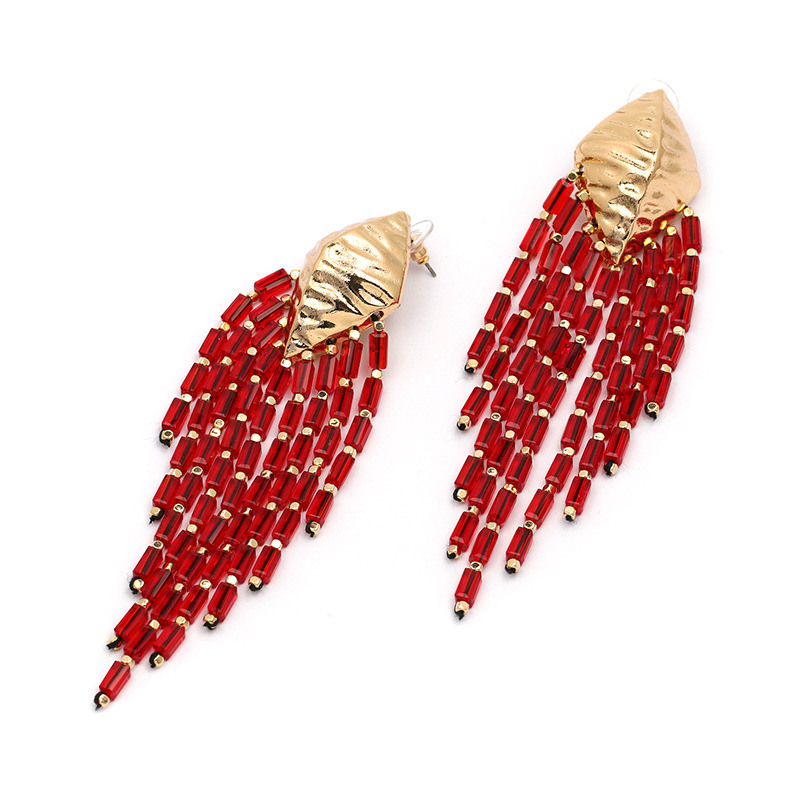 Plastic Fashion Tassel earring  (red) NHJJ4892-red