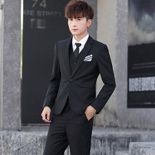 2020新款西服套装男士三件套韩版修身伴郎服男主持人服装一件代发