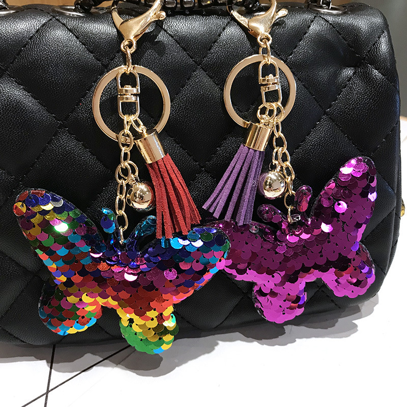 Sequin bow tassel keychain Korean version of the car key box pendant NHCB174481