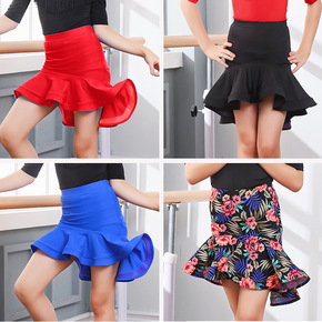 Children's latin Dance skirts  fish bone big swing skirt girls Latin dance skirt children's dance skirt half skirts