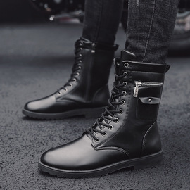 [] Spring and Autumn Explosive Boots Men's Boots Fashion England Boots Men's Round Head Men's Shoes Boots