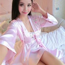 夏季新款女士仿真絲睡衣性感吊帶兩件套睡裙蕾絲花邊睡袍一件代發