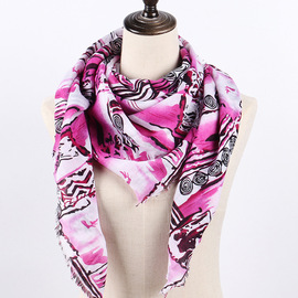 New print totem twill scarves travel decorative cotton scarf