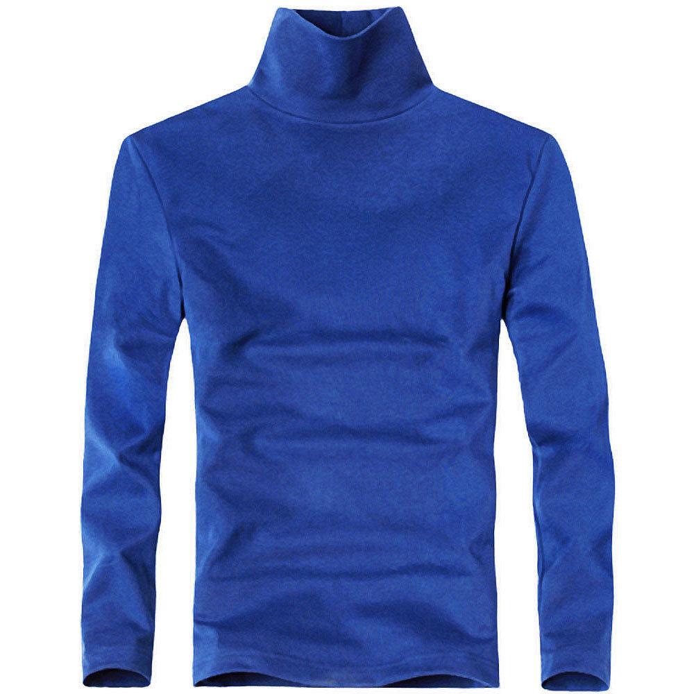 男式高领t恤一件代发淘宝货源纯色长袖棉宽松柔软打底衫内衣批发