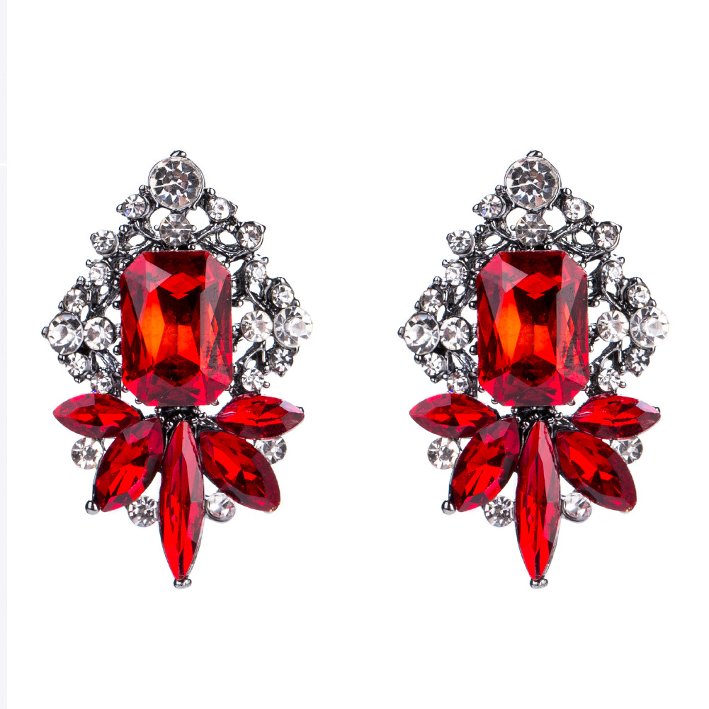 Fashion Alloy Diamond earring Geometric (red)NHJE1089-red