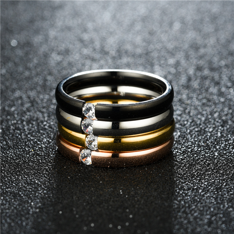 TitaniumStainless Steel Fashion Sweetheart Ring  3MM steel color6 NHTP00083MMsteelcolor6