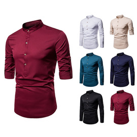 Hot selling men's spring and autumn new vertical collar large size long-sleeved shirt men's solid color sleeve trendy shirt