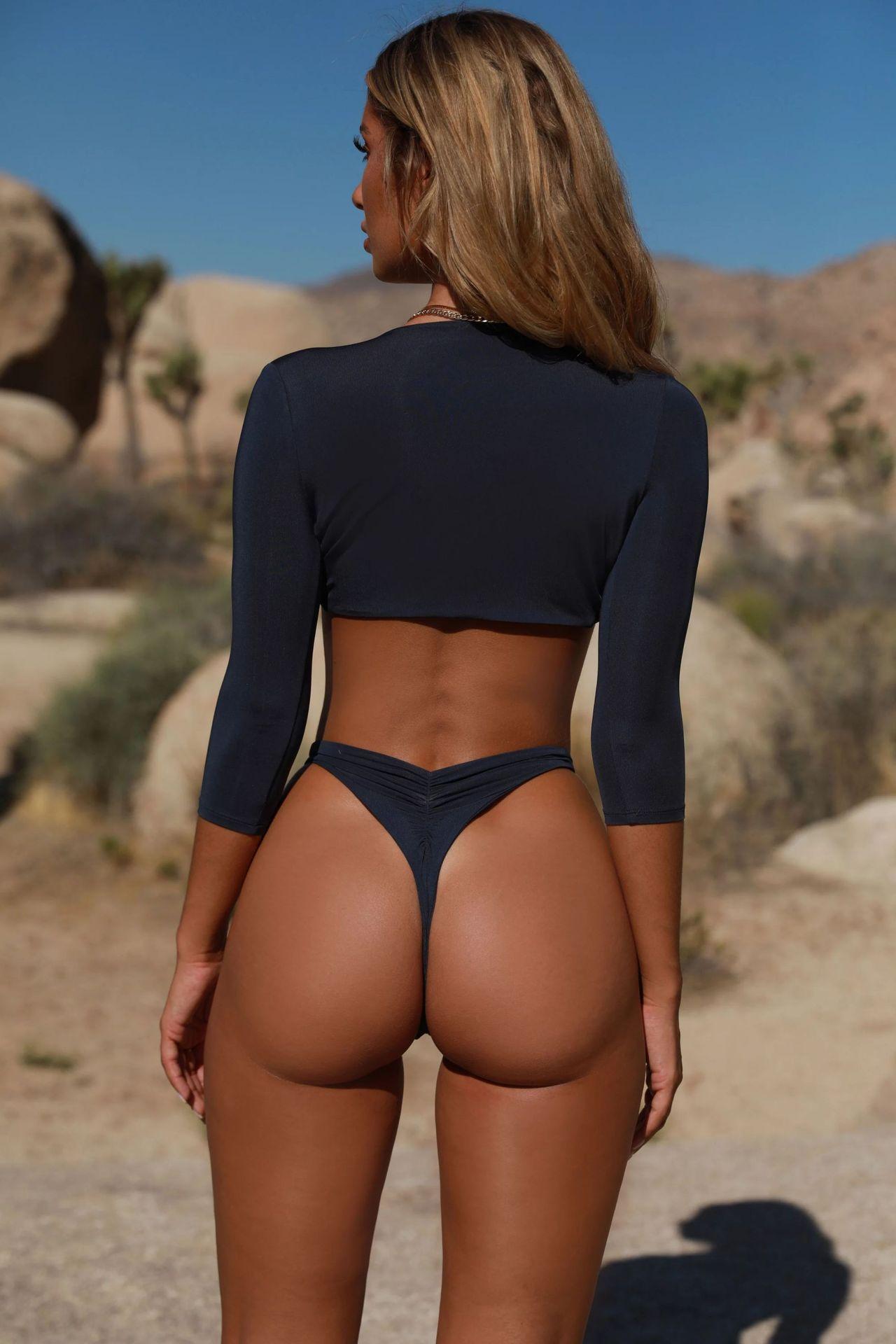 European and American bikini solid color split swimsuit set NHNM142722