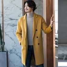 2018秋冬男士暖粉黄色双面羊绒大衣韩版外套羊毛中长款双面呢风衣