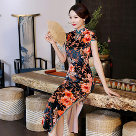 New dress wedding dress mother dress middle-aged and old fashion cheongsam wedding banquet dress in autumn and winter, wedding dress, wedding dress