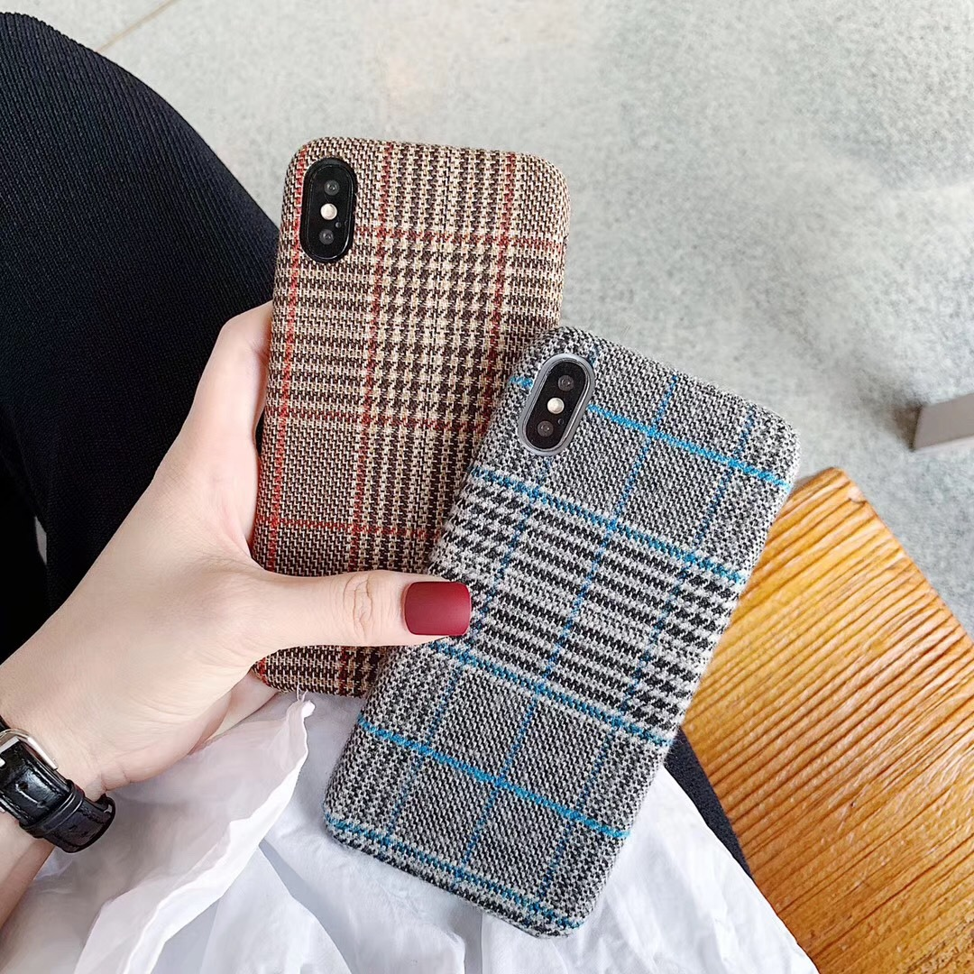iPhoneXR Plaid Flannel iphone8 Mobile Shell Apple 6s Simple Creative Cover Winter 7plus Literature