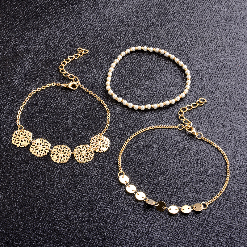 Fashion Round Bead Carved Bracelet Multi-layer Bracelet Simple Hollow Anklet Set NHPV197428