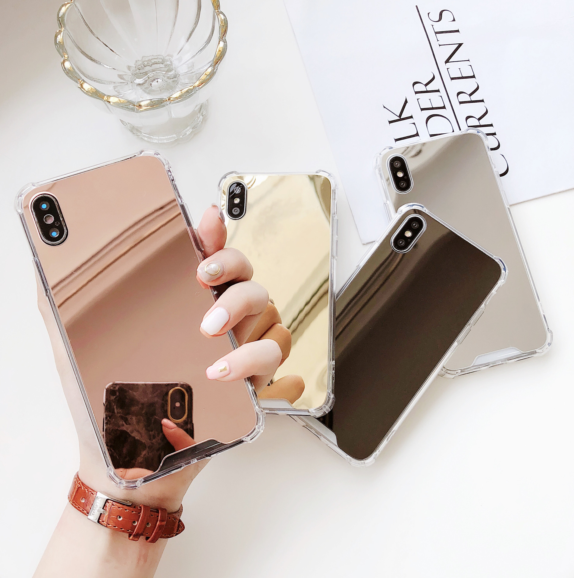 Mirror Four-corner Iphone11pro Anti-drop Suitable For Apple 7plus Mobile Phone Case Xs Max Acrylic Protective Cover