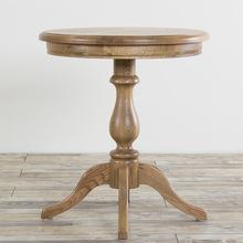 美式实木小圆桌茶几欧式圆形小桌边桌边角几北欧餐桌咖啡桌洽谈桌