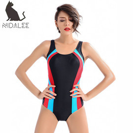 The new professional racing conjoined triangular swimsuit is color-fitting, conservative, thin and fast-drying chlorine-proof