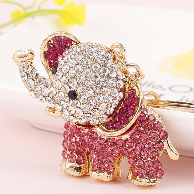 卡通大象合金钥匙扣 水钻大象汽车钥匙扣 包包挂件装饰小礼品