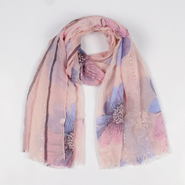 New printed figure sequins Bali yarn scarf travel decoration cotton and linen scarf female