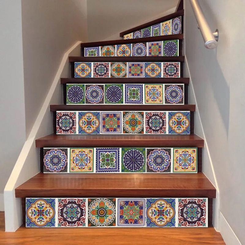 跨境瓷砖贴3D自粘壁纸厨房防油贴家具翻新楼梯贴波西米亚墙纸贴纸