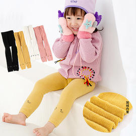 [1] Children's leggings autumn and winter models cute cartoon nine pants plus velvet thick warm children's pants
