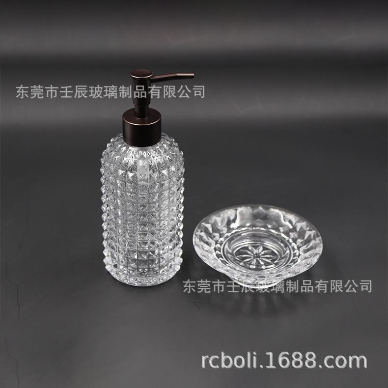 厂家直销透明玻璃卫浴两件套 酒店浴室用品简约卫浴套件液瓶