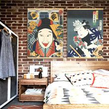 日式风格餐厅装饰画 日本武士浮世绘人物墙画居酒屋壁画卷轴?#19968;? class=