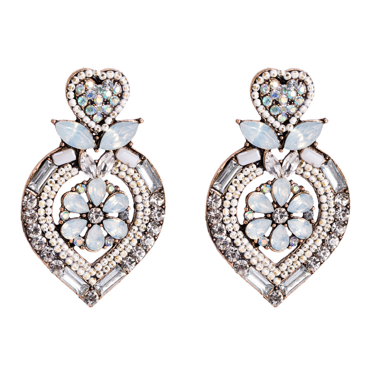 Alloy Fashion Flowers earring  (white) NHJE1511-white