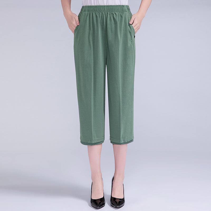 中年女裤夏季松紧腰7分短裤妈妈裤子纯色棉裤中老年运动休闲裤女